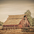 Wild West Barn And Hay Wagon by Gene Parks