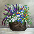 Wildflower Basket Acrylic Painting A61318 by Mas Art Studio