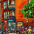 Wilensky Diner Little League Expo Kids Baseball Painting Montreal Scene Canadian Art Carole Spandau  by Carole Spandau