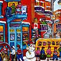 Wilensky Winter Wonderland Kids Hockey Fun Canadian Painting Montreal Art City Scene Art C Spandau by Carole Spandau