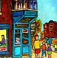 Wilensky's Counter With School Bus Montreal Street Scene by Carole Spandau
