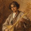 Wilhelm Amardus Beer, Portrait Of A Musician Boy by Wilhelm Amardus Beer