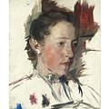 Wilhelm Leibl 1844 - 1900 German Bauernmadchen Farm Girl by Wilhelm Leibl