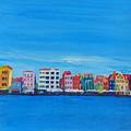 Willemstad Curacao Waterfront In Blue by M Bleichner
