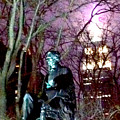 William Seward Statue And Empire State Bldg With Trees by Ken Lerner