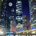 Willis Tower And Moon by Skyline Photos of America