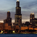 Willis Tower At Dusk Aka Sears Tower by Adam Romanowicz