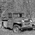 Willys Jeep Pickup Truck Monochrome by Steve Harrington