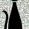 Boomerang Cat In Aqua And Brown by Donna Mibus