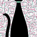 Boomerang Cat In Aqua And Pink by Donna Mibus