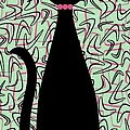 Boomerang Cat In Pink And Green by Donna Mibus