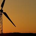Wind Turbine On A Ridge At Sunset by Sami Sarkis