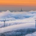 Wind Turbines At Sunrise by Marc Crumpler