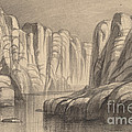 Winding River Through A Rock Formation (philae, Egypt) by Edward Lear