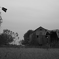 Windmill And Barn In Black And White by Brook Steed