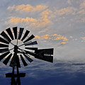 Windmill And Cloud Bank At Sunset by David Arment
