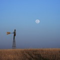 Windmill And Full Moon by Val Conrad