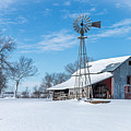 Windmill And Old Barn In Fresh Snow by Jeffrey Henry