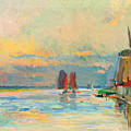 Windmill At A Channel In Rotterdam by Albert Lebourg