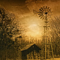 Windmill At Sunset by Iris Greenwell