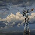Windmill Energy On Old Prairie Farm by Randall Nyhof