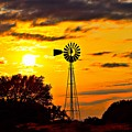Windmill In Texas Sunset by Jeanie Mann