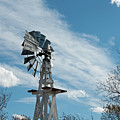 Windmill With White Wood Base by David Arment
