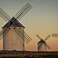 Windmills In Golden Light by Heiko Koehrer-Wagner