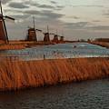 Windmills In The Evening Sun by Manuel Posch