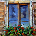 Window Shutters And Flowers IIi by Ronald Bolokofsky