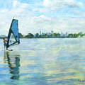 Windsurfing In The Bay by Linda Weinstock