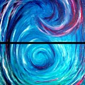 Windwept Blue Wave And Whirlpool Diptych 1 by Nancy Mueller