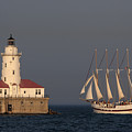 Windy And The Chicago Harbor Light - D009820 by Daniel Dempster
