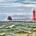 Windy Day At Grand Haven Lighthouse by Betsy Foster Breen