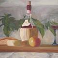 Italian Wine And Cheese by Angela Inguaggiato