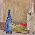 Wine Bottles On Shelf by Debbie Homewood