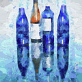Wine Bottles Reflection  by OLena Art Lena Owens