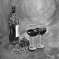 Wine On My Canvas - Black And White - Wine For Two by Jan Dappen