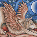 Winged Wolf In Downward Dog Yoga Pose by Kristin Aquariann