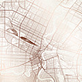 Winnipeg Street Map Colorful Copper Modern Minimalist by Jurq Studio