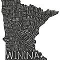 Winona Minnesota Typography Map by Kari Yearous