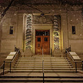 Winona Public Library On A Snowy Night by Kari Yearous