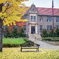 Winona State University Phelps Hall With Bench by Kari Yearous