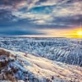 Winter Badlands Sunset by Rikk Flohr