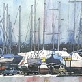Winter Blues, Sal Boats, Boating Paintings, Boat Paintings, Boat Prints by LeAnne Sowa