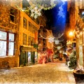 Winter Carnival Old Quebec City Lower Town by Edward Fielding