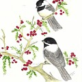 Winter Chickadees And Berries by Dee Grimm