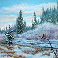 Winter Creek With Crow by E Colin Williams ARCA