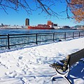 Montreal - Winter Day With Red Ship by Cristina Stefan