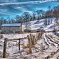 Winter Farm Barn In Snow  by Randy Steele